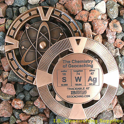 "SWAg - The Chemistry of Geocaching! (Ant. Bronze Colour, 2.5"" + Cutouts)"