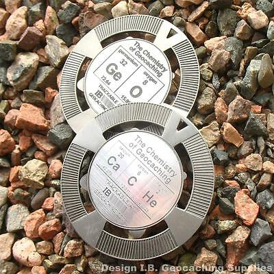 GeO + CaCHe = The Chemistry of Geocaching (2 coins! Trkbl, Ant. Silver Colour)