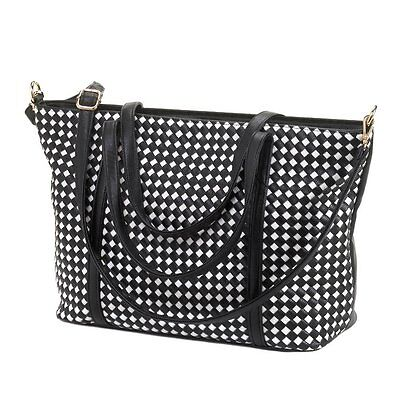 Ladies Black & White Mixed Fashion Accessories Purse Wallet Necklace ER & Scarf
