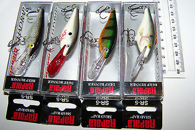 RAPALA FISHING LURES LOT OF 4, SR-5  SHAD RAP    Bream, Perch, Trout, Bass.