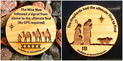 Christmas Shepherds and Magi Pair of TRACKABLE Geocaching Wooden Nickels