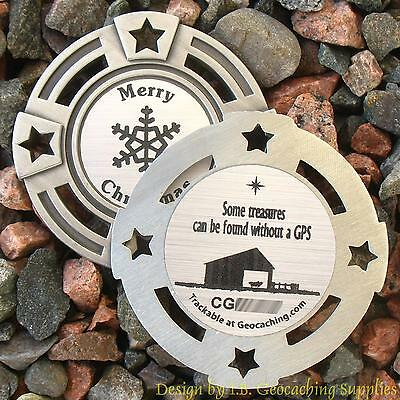The Christmas Stable TRACKABLE Geocaching GeoMedal Geocoin (Ant. Silver Colour)