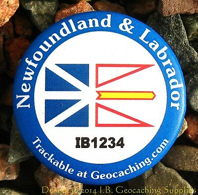 Newfoundland TRACKABLE Canadian GEOCACHING Button (unactivated)