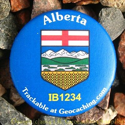 Alberta TRACKABLE Canadian GEOCACHING Button (unactivated)