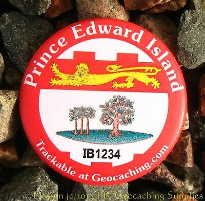 Prince Edward Island TRACKABLE Canadian GEOCACHING Button (unactivated)