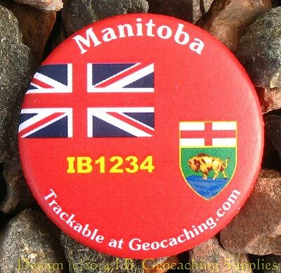 Manitoba TRACKABLE Canadian GEOCACHING Button (unactivated)