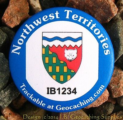 Northwest Territories TRACKABLE Canadian GEOCACHING Button (unactivated)