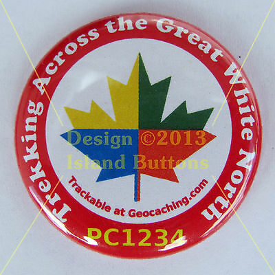 Trekking Across the Great White North GC Maple Leaf Trackable Button