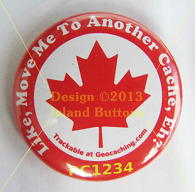 Move Me to Another Cache, Eh? Maple Leaf Trackable Button