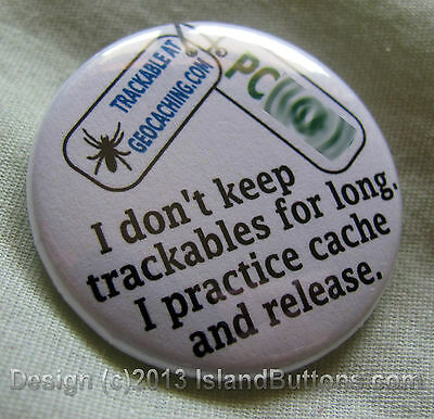 Geocaching Trackable Keyring - Cache and Release