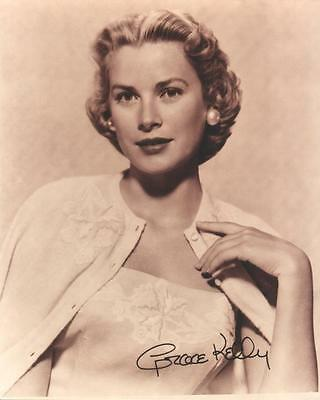 GRACE KELLY SEPIA GLAMOUR printed autograph photo(bv14)