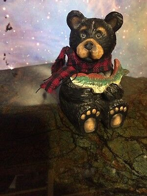 Black Bear with Red and Black Checkered Scarf Figurine