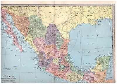 1904 color map Mexico. 9 by 12