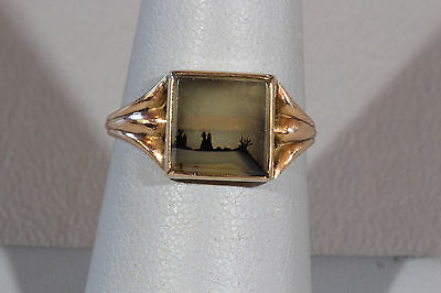 Antique Edwardian 10K Yellow Gold Dendritic Agate Ring Size 6