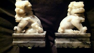 Vintage Chinese Gray Marble/Stone/Soapstone Foo Dog Statues Bookends 1900-1949