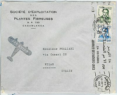 59822 -  MOROCCO - POSTAL HISTORY:  COVER to ITALY  1965 -  United nations