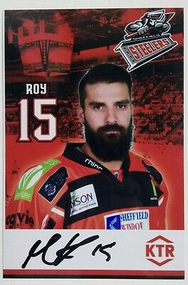Auto'd MATHIEU ROY 2016-17 Sheffield Steelers team issued photo