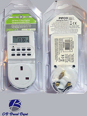 12/24Hour LCD Digital Electronic Plugin Programable Timer Switch Socket UK Pifco