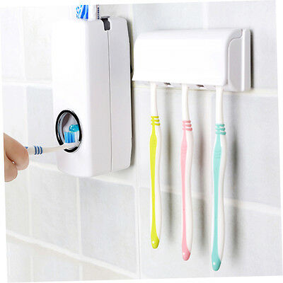 Automatic Toothpaste Dispenser With Five Toothbrush Holder Stand Wall Mount SS