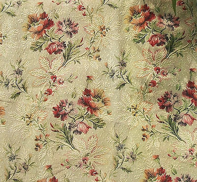 Pretty piece Vintage Antique French Fabric 1940s Woven Country Cottage Flowers
