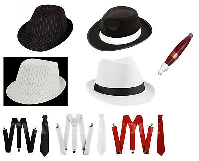 1920's 20s Gangster Hat Trilby Braces Tie Al Capone Gatsby Fancy Dress Costume
