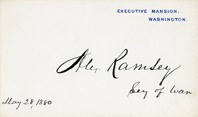 Alexander Ramsey - White House Card Signed 05/28/1880