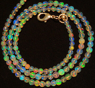 Natural Ethiopian Opal Ultimate Quality Rainbow Fire 3-3.5MM Round Bead Necklace