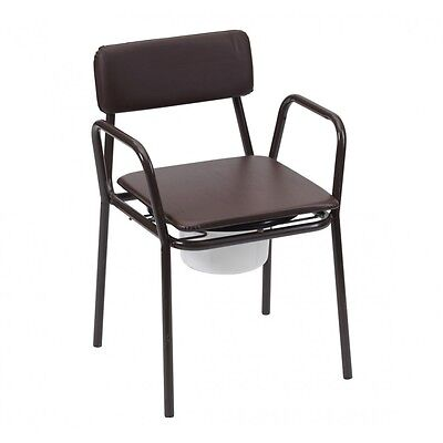 Cushioned Back & Seat Stacking Sturdy Steel Chair Commode
