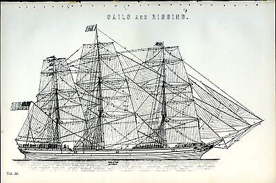 Sails and Rigging 1885 Antique Original Print from Engraving Maritime History