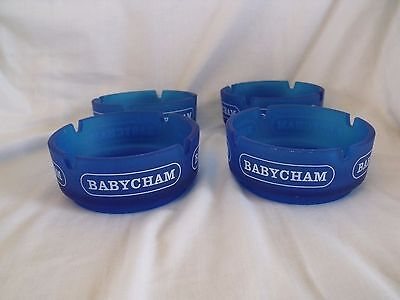 Set of 4 x Vintage Smoked Blue Glass Babycham Ashtrays