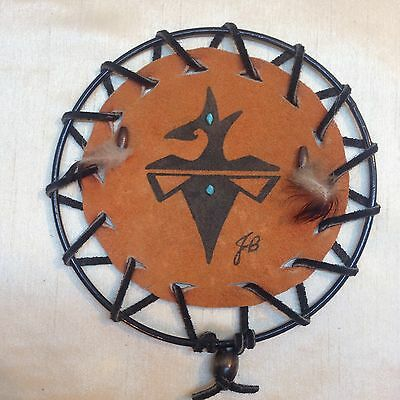 """03B-D1 WALL HANGING ZUNI TRIBAL """"Birdform"""" painting Leather Stones 6.5 Signed"""