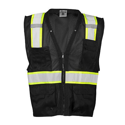 ML Kishigo B100 Enhanced Visibility Multi Pocket Black Mesh Vest