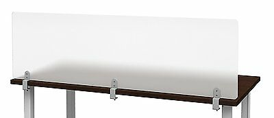"47"" W X 12"" H Frosted Acrylic Desk Divider, Privacy Panel, Partition, Clamp On"