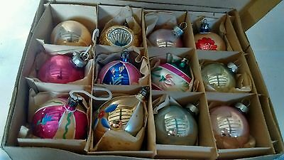 A Box Of 12 Vintage 1950's Mercury Glass Christmas  Baubles