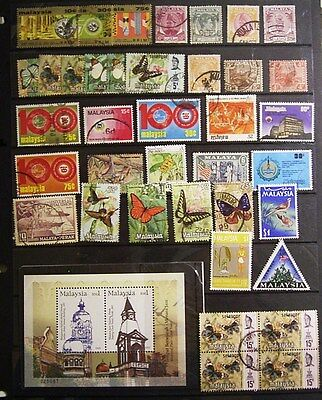 Malaya/ Malaysia Used Stamps Including A Block Of 4 ,   A Miniature Sheet