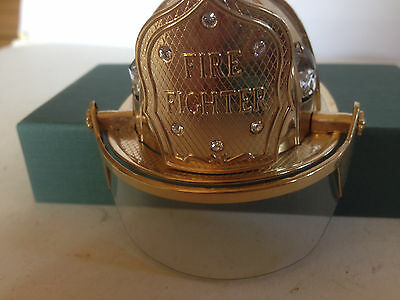 Fire Fighter Helmet 24 Kt. Gold Plated Collectible With Austrian Crystal