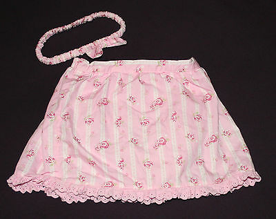 Vintage Disney Baby Set Pink Skirt Attached Diaper Cover Lace Bow Headband 18 M