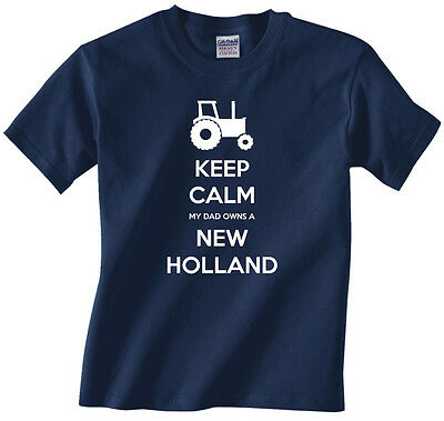 """Kids, youth, boys tractor farming t-shirt """"Keep Calm My Dad Owns a New Holland"""""""