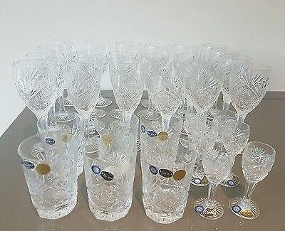 Large Collection 36 Bohemia Lead Crystal Glasses red white wine sherry tumblers