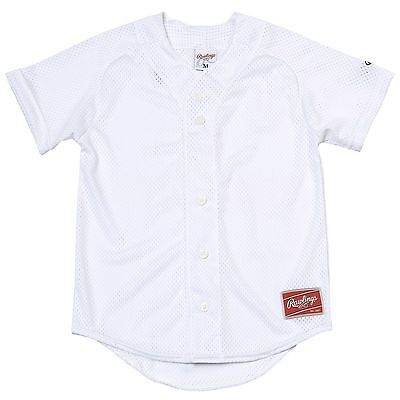 RAWLINGS Sports Double Play Short Sleeve Baseball Team Jersey White Youth XL NEW