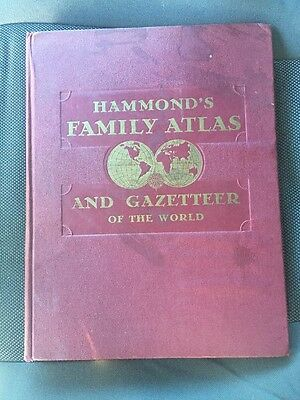 Hammonds Family Reference World Atlas 1944 Plus World War Map