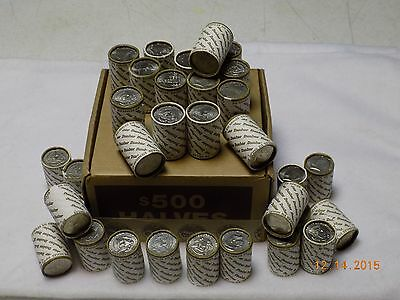 Five (5) Unsearched Rolls of Kennedy Half Dollar Coins - Possible 40% and 90%ers