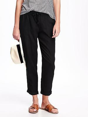 Old Navy Women's Black Linen Blend Cropped Pants Size L