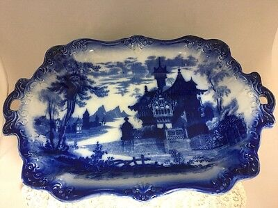 Antique Flow Blue Pottery Serving Dish in the SHANGHAI Pattern
