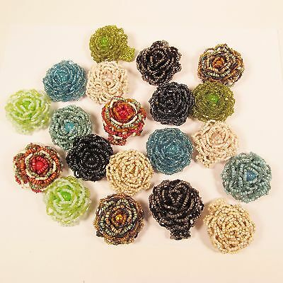 20 PCS  Handmade Beaded Rose Flower Stretch Rings WHOLESALE LOT Assorted Colors
