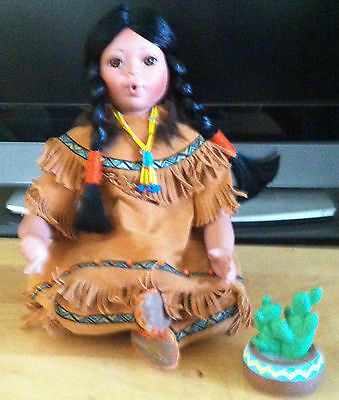Danbury Mint Cactus Flowers Native American Porcelain Doll by Gregory Perillo