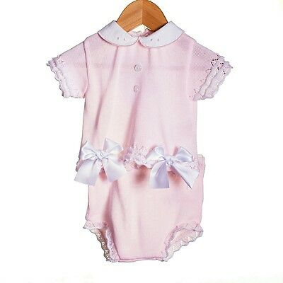 Baby Girls Pink Knitted 2 Piece Bow Set Romany Spanish Style Outfit by Zip Zap