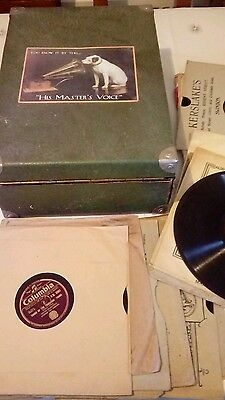 His Masters Voice wind up gramophone and 22 various records
