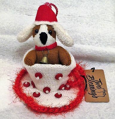 Two Blessings Knitted Dog Christmas Hat & Bell in White & Red Teacup Ornament