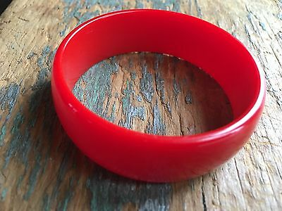 Bakelite Bangle Big Cherry Red Tested Vintage